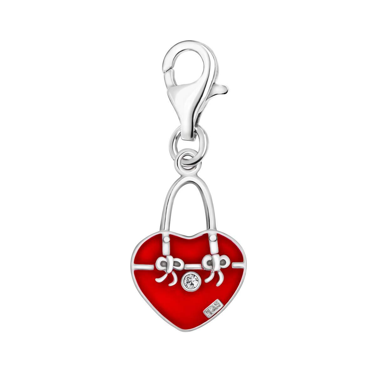 Quiges Charm Pendentif Perle avec Fermoir Femme Argent 925 Sac /à Main 3D avec Oxyde de Zirconium Blanc et /Émail Rouge