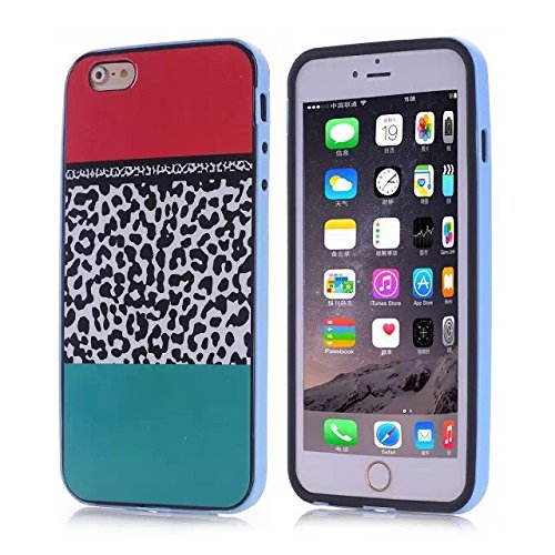 For iPhone 6 4.7'' Case ,YW (TM) TPU Frame Work Bumper Protective Hybrid Impact Armor Slim Defender Hard Case Cover For Apple iPhone 6 4.7inch Smartphone with One Piece Random Color Stlye Dress up Sticker Gift - Leopard