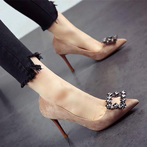 FLYRCX Primavera y otoño zapatos de tacón Señoras fina y superficial única personalidad sexy moda zapatos Zapatos de fiesta c