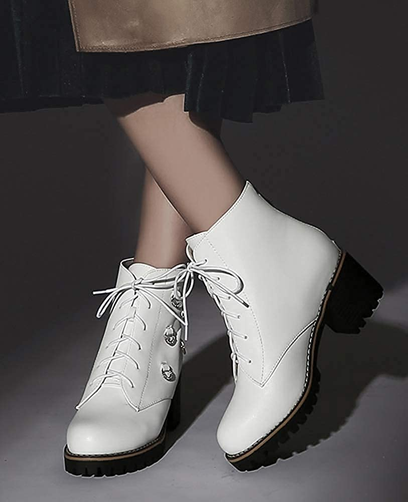Unm Womens Fashion Rhinestone Mid Block Heel Booties Lace Up Round Toe Ankle Boots with Zipper