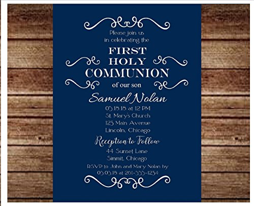 Set of 25 Boys Blue and White Baptism, Christening, Communion or Confirmation Party Invitations - All Wording ()