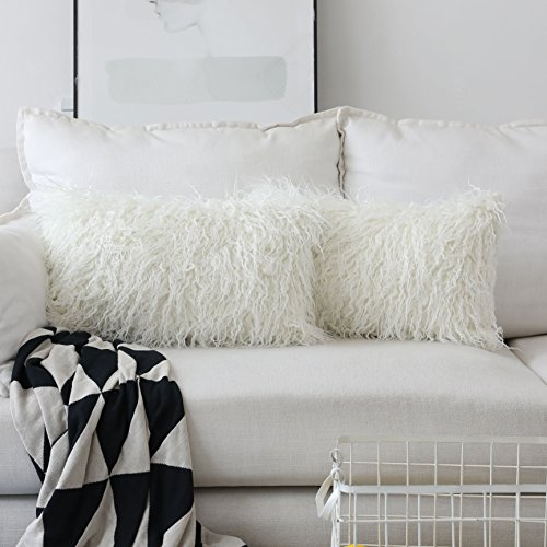 Deluxe Home Decorative Super Soft Plush Mongolian Faux Fur Oblong Throw Pillow Cover Cushion Case for Bed, Set of 2 (12x20 inch, Off-White)