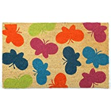 Butterfly Mat 2 Doormat by Castle Mats, Size 18 x 30 inches, Non-Slip, Durable, Made Using Odor-Free Natural Fibers