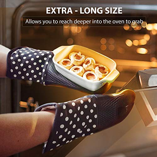 2 Pack Chocolate Coloured Oven Mitts with Non Slip Silicone Grip - Heat Resistant Pot Holder Gloves for Cooking and Baking ()
