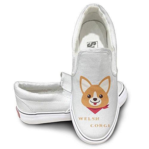 SH-rong Welsh Corgi Unisex Canvas Sneakers Shoes Size 43 White (Case Corgi Ipod Generation 4th)