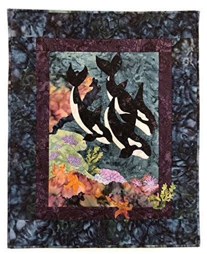 Lap Quilts Quilted Wall Hangings - Wall Hanging Lap Quilt Table Top Decoration Multicolor Art Mural Colorful Patchwork Textile Quilted Diving Whales 21