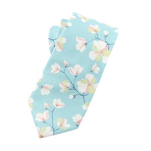 Elfeves - Corbata para hombre de algodón y lino, corte estrecho ...