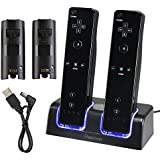 Insten Dual Charging Station w/ 2 Rechargeable Batteries & LED Light for Wii Remote Control, Black - (Original Wii Controllers Not Included) Retail Packaging