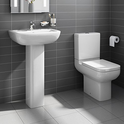 Modern WC Toilet + Pedestal Basin Sink Bathroom Suite Set