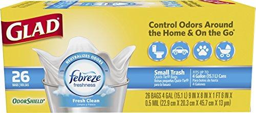 Glad OdorShield Small Trash Bags - Febreze Fresh Clean - 4 Gallon - 26 Count