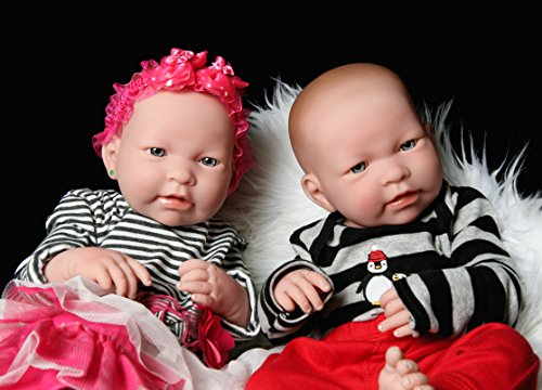 """Reborn Adorable Babies Girl and Boy Anatomically Correct Doll Berenguer Realistic 17"""" inches Real Soft Vinyl Lifelike Pacifier Washable"""