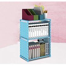 LU-Shelf Simple Bookshelf Children Free Combination Of Storage Cabinets wall Shelves ( Color : Blue , Size : 2 layer )