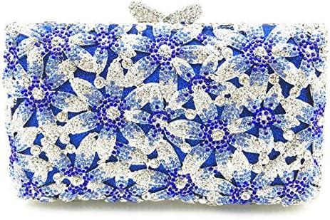 丈夫な女性の金属チェーンの肩の形のツイルpuの財布の結婚式の花嫁介添人ギフト高級ラインストーンダイヤモンド中空青の花の正方形の宴会のディナーバッグクラッチバッグ 美しいファッション (色 : Silver)