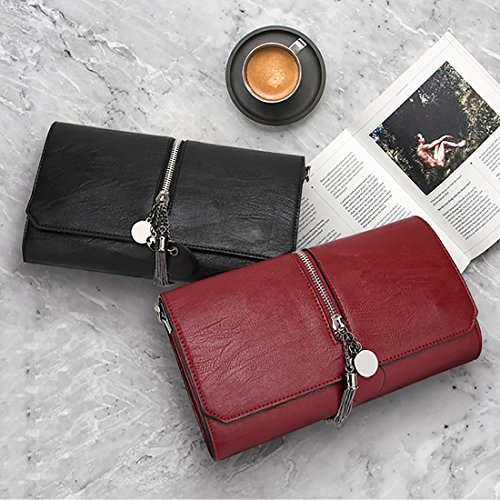 YYW wristlet - Cartera de mano con asa para mujer wine red color