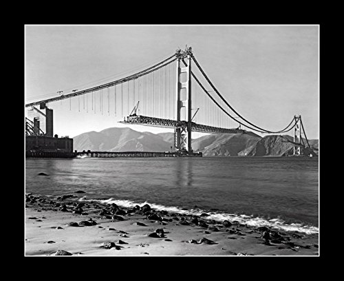 8 x 10 All Wood Framed Photo The Golden Gate Bridge Under Construction