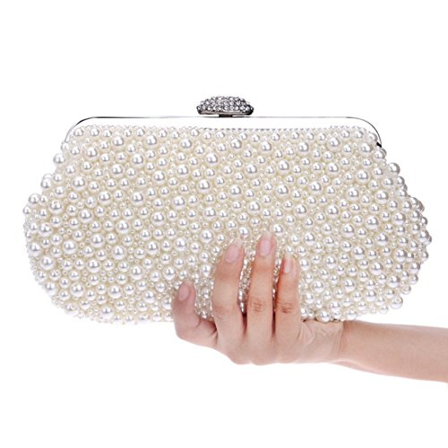 White Women's Party Purse Creamy Color Wdding Pearl white Banquet KERVINFENDRIYUN Ladies Handbag Bag Clutch Dress Evening Bvq1dwO