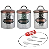 Kosma Set of 3 Stainless Steel Tea Sugar Coffee Canister Sets | Kitchen Storage Jar Sets - Hammered finish with Copper plated Lids & FREE GIFT 3 Stainless Steel Tea/Coffee/Sugar Spoons
