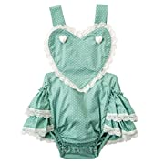 Messy Code Baby Girls Romper Infant Bodysuit Toddlers Boutique Heart Ruffle With Lace Jumpsuit Girl Clothes Green 1-2T