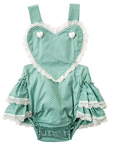Baby Romper Girl Ruffle Butt Romper Baby Girl Bodysuit Sleeveless Lace Baby Girl Outfit Heart Photoshoot Onesies Birthday Cake Smash Outfit Party Jumpsuit Summer Sunsuit Green 12 Months-24 Months 1T
