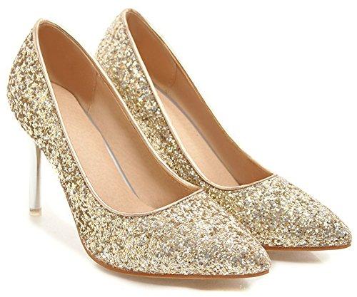 Idifu Womens Glitter Slip On Scarpe A Punta Tacco Alto A Spillo Scarpe Da Sposa Oro