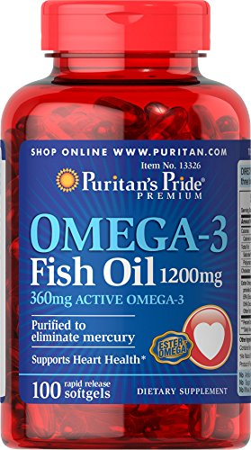 025077133260 - Puritan's Pride Nutritional Softgels, Omega-3 Fish Oil, 1200 mg, 100 Count carousel main 0