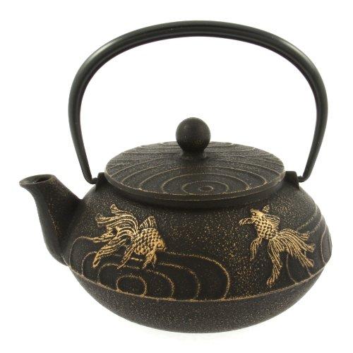 Iwachu Japanese Iron Teapot Tetsubin Gold and Black Goldfish ()