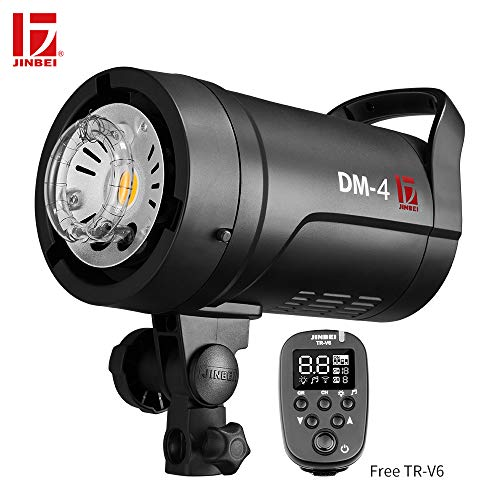 JINBEI DM-4 400Ws GN66 2.4G Wireless Studio Strobe Flash Light Power 90-265V LED Modeling Lamp Bowens Mount,TR-V6 Transmitter Portrait Fashion Wedding Art Photography