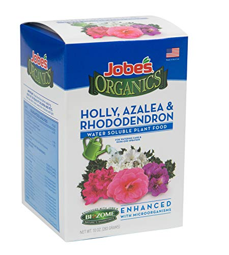 Jobe's Organics (08281) Holly, Azalea & Rhododendron Fertilizer for Acid Loving Plants 6-1-1 Water Soluble Plant Food Mix with Biozome, 10 oz Box Makes 30 Gallons of Organic Liquid Fertilizer