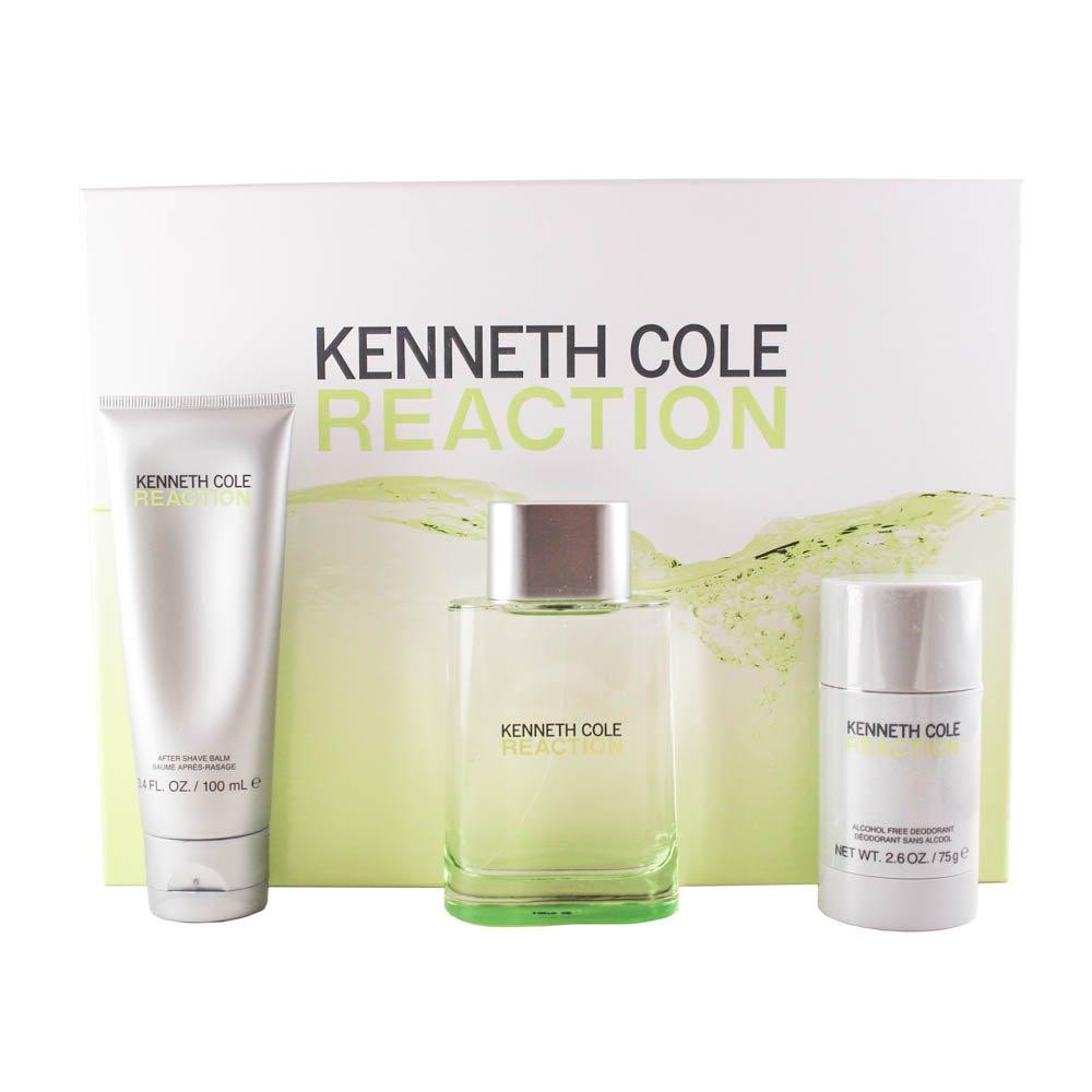 Kenneth Cole reaction gift set (eau de toilette spray & aftershave balm & alcohol-free deodorant stick) for men, 3.4 Fl. Oz. REA32M
