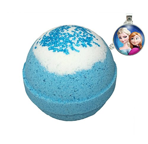 Frozen BUBBLE Bath Bomb with Surprise Necklace Inside - in Gift Box - Big Blue Kids Bath Fizzy By Two Sisters Spa - Homemade by Moms in the USA