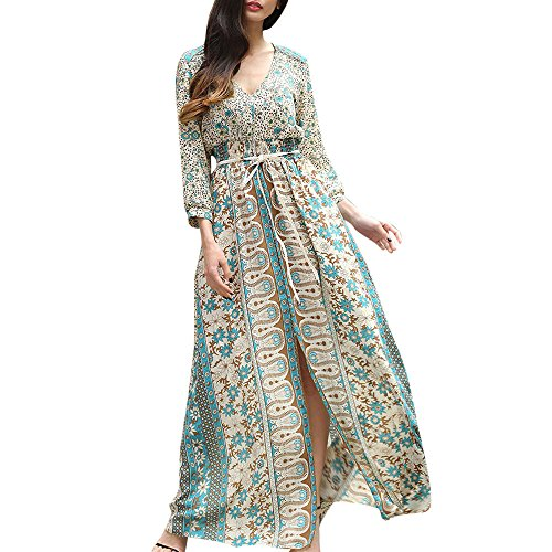 Pleated Washed Silk Dress - AMOFINY Womens Dresses Floral Print Boho Long Sleeve Beach Evening Party Dress