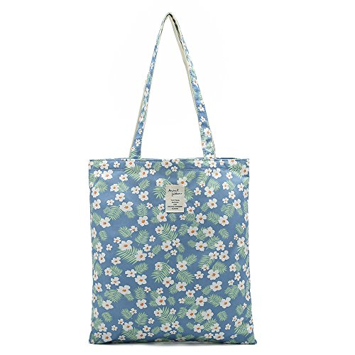 Everyday Canvas Bag - Women's Canvas Tote Shoulder Bag Stylish Shopping Casual Bag Foldaway Travel Bag (M-Floral-white)