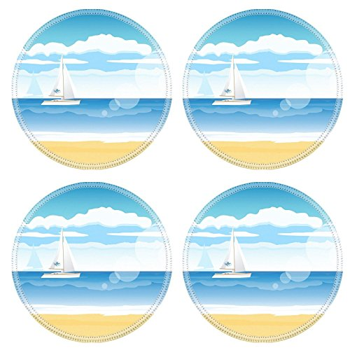 Liili Round Coasters Non-Slip Natural Rubber Desk Pads IMAGE ID: 25236767 Sea beach with a boat on the horizon for summer design