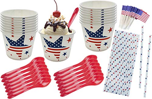 Patriotic Ice Cream Sundae Kit - Red White Blue Stars - 16 Ounce Paper Treat Cups - Heavyweight Plastic Spoons - Paper Straws - Flag Picks - 16 Each