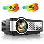 """#LightningDeal TOPTRO Portable Projector,5500 Lumens Video Projector Support 1080P,200"""" Display,HiFi Speaker,[Native 720P] 55000 Hrs Outdoor/Home Projector Compatible with TV Stick/Phone/Laptop/PS4/SD/USB/VGA/HDMI"""