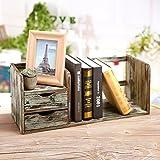 MyGift Distressed Torched Wood Desktop Bookshelf Organizer with 2 Storage Drawers