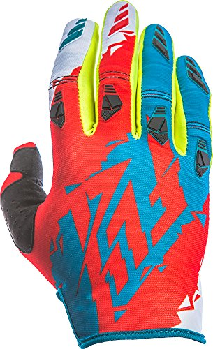 Fly Racing Unisex-Adult Kinetic Gloves (Dark Teal/Red, Large) - Kinetic Race Gloves