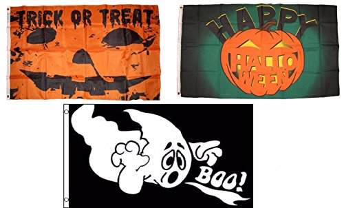 ALBATROS 3 ft x 5 ft Happy Halloween 3 Pack Flag Set #145 Combo Banner Grommets for Home and Parades, Official Party, All Weather Indoors Outdoors -
