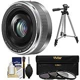 Panasonic Lumix G Vario 20mm f/1.7 II ASPH Lens (Silver) 3 Filters + Tripod + Kit G6, G7, GF7, GH3, GH4, GM1, GM5, GX7, GX8 Cameras