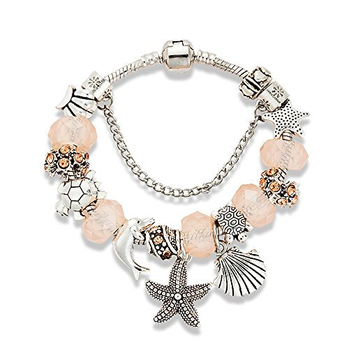Cousin It Costume Yarn (Charm Bracelet for Women Teen Girls Pink Sea Beach Star Fish Seashell Turtle Dangle Beaded Wrist Bangle)