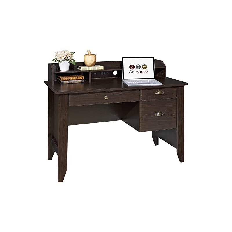 OneSpace Executive Desk with Hutch, USB