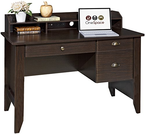 OneSpace Executive Desk with Hutch, USB and Charger Hub, Wood Grain ()