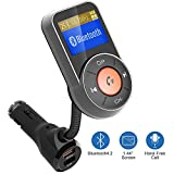 Bluetooth FM Transmitter, FKANT Auto-Scan Bluetooth 4.2 Wireless Radio Audio Adapter Receiver Car Kit MP3 Player, Hands-free, QC3.0/2.4A Dual USB Ports, AUX Input/Output,1.44'' Display, TF Card