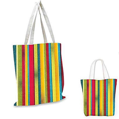 Vintage Rainbow easy shopping bag Ragged Aged Vertical Stripes with Retro Halftone Effects Dirty Grained Look foldable shopping bag Multicolor. 14