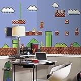 RoomMates JL1331M Super Mario Retro X-Large Chair Rail Prepasted Mural, Ultra-strippable, 6' x 10.5'