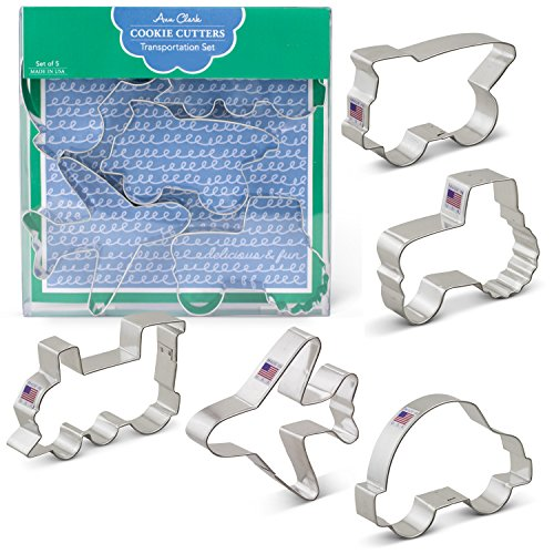 (Transportation/Vehicles Cookie Cutters - 5 Piece Boxed Set - Car, Airplane, Train, Truck, Tractor - Ann Clark - US Tin Plated)