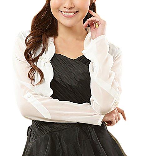 Top Donna Elegante Primaverile Estivi Manica 3/4 Pizzo Piccolo Cardigan Chic Ragazza Sottile Solido Larghi Casuali Moda Tops Donne Abbigliamento Bianca