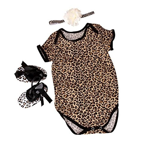 FEITONG 3pcs Baby Girls Leopard Print Romper Bodysuit +Headband+ Shoes Sets Clothes (Age 0-3M, (Clearance Baby)
