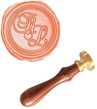 mdlg personalizado su doble Dos iniciales Corazón Monogram Vintage personalizado Foto Carta logotipo Juego de invitación sello de cera mango de ...