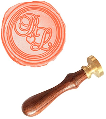 MDLG Custom Custom Double Initials Monogram Love Heart Letters Vintage Personalized Picture Letter Logo Wedding Invitation Wax Seal Stamp Rosewood Handle Set ()